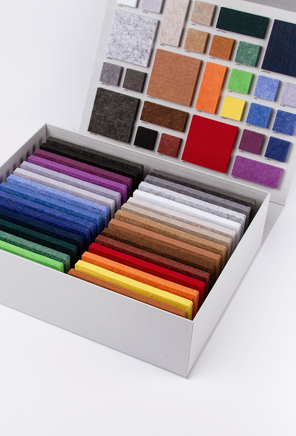 ReFelt PET Felt Acoustic Panels Colours Sample Box Interior