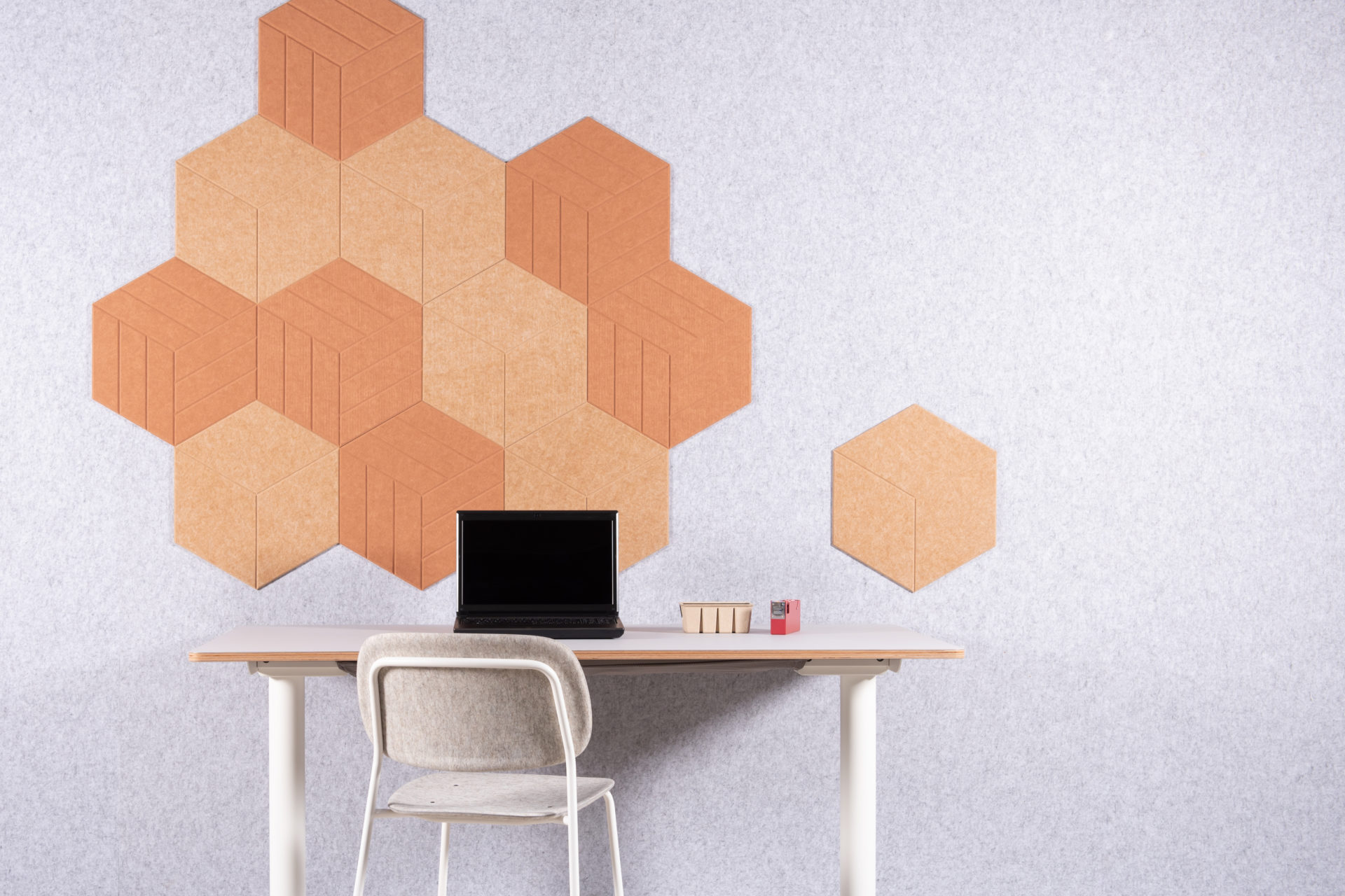 Refelt PET Felt Hexagon Diamond Lines Large 47cm home office