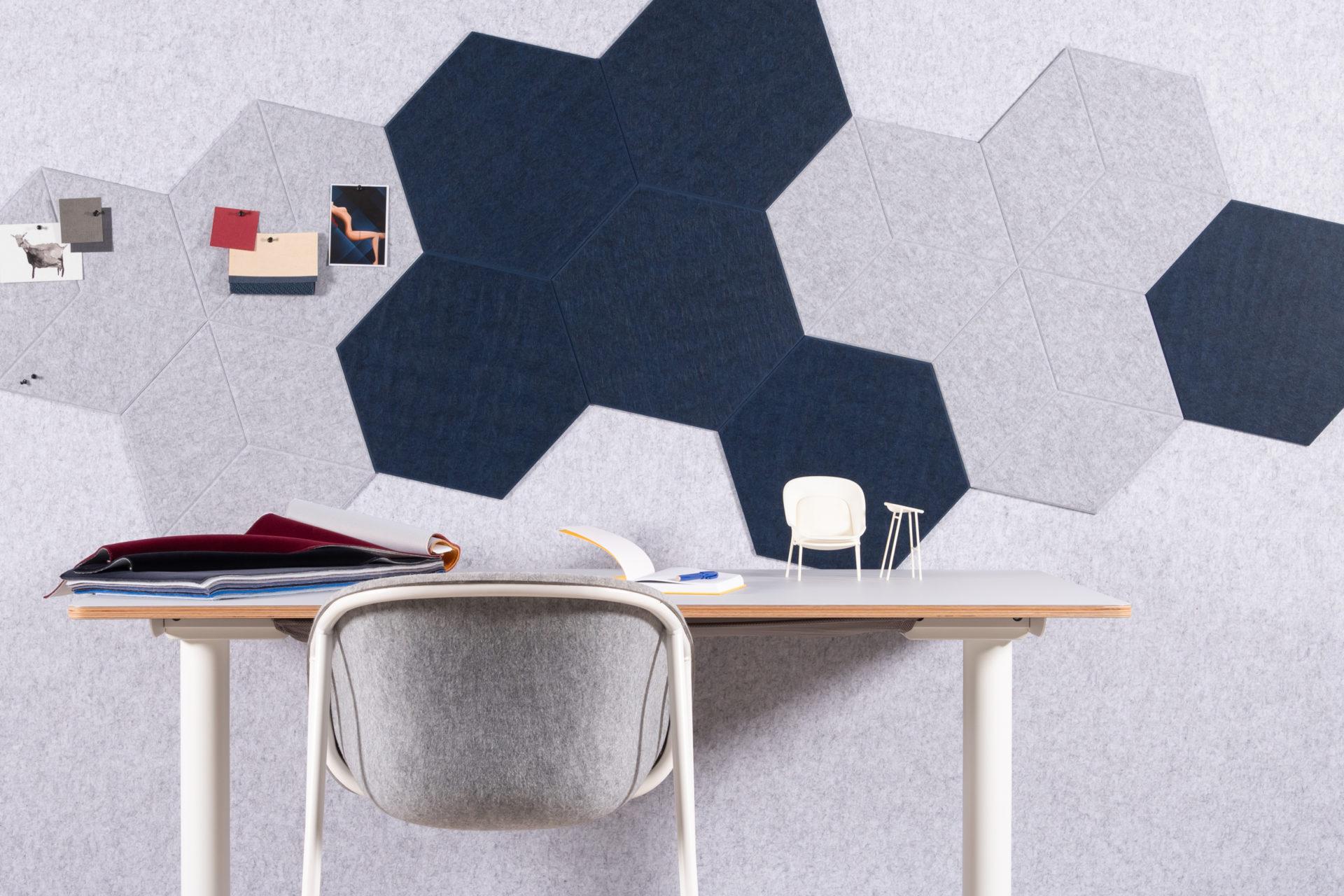 ReFelt PET Felt acoustic tile Hexagon Diamond Large 47cm