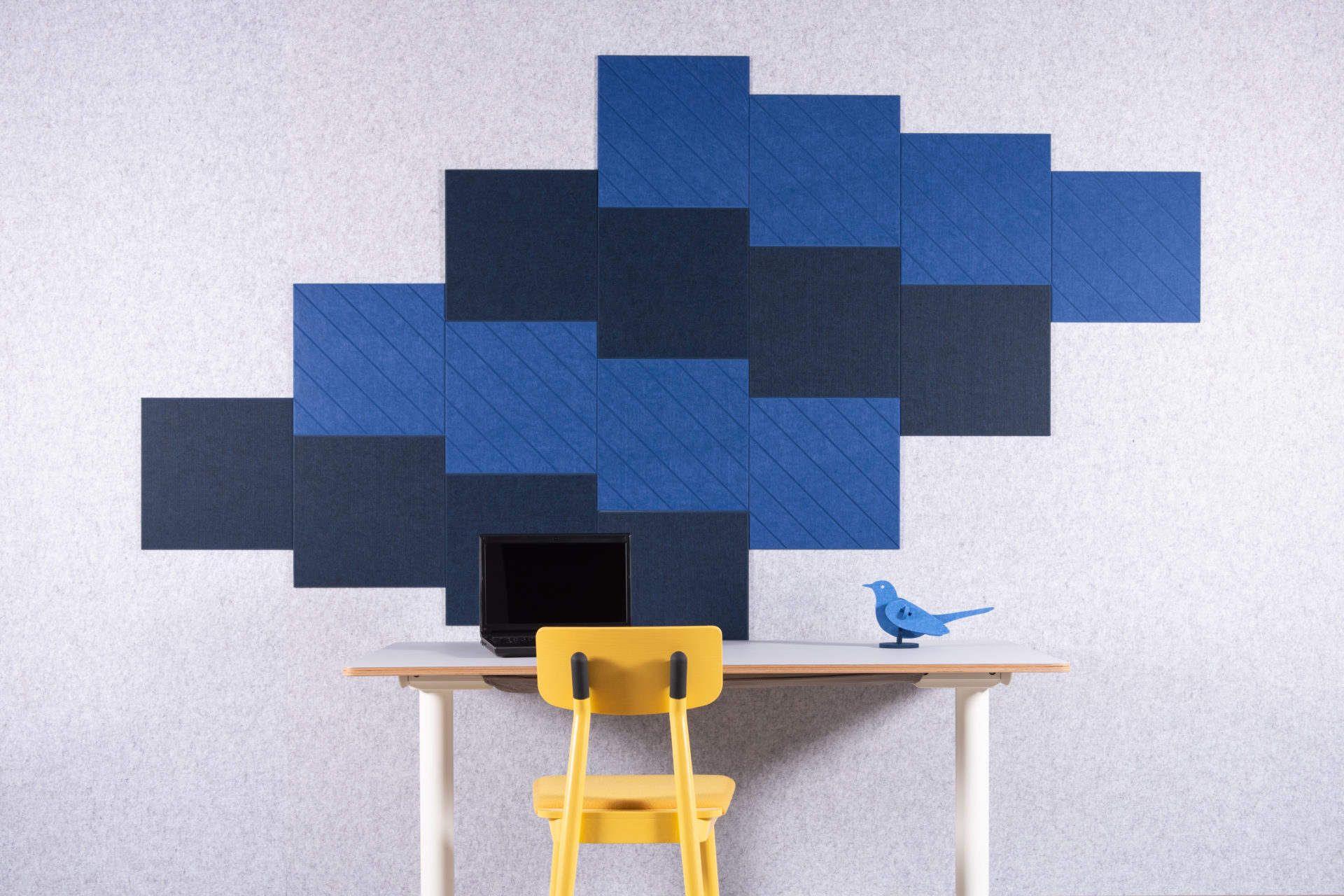 ReFelt PET FElt acoustic tiles blue setting