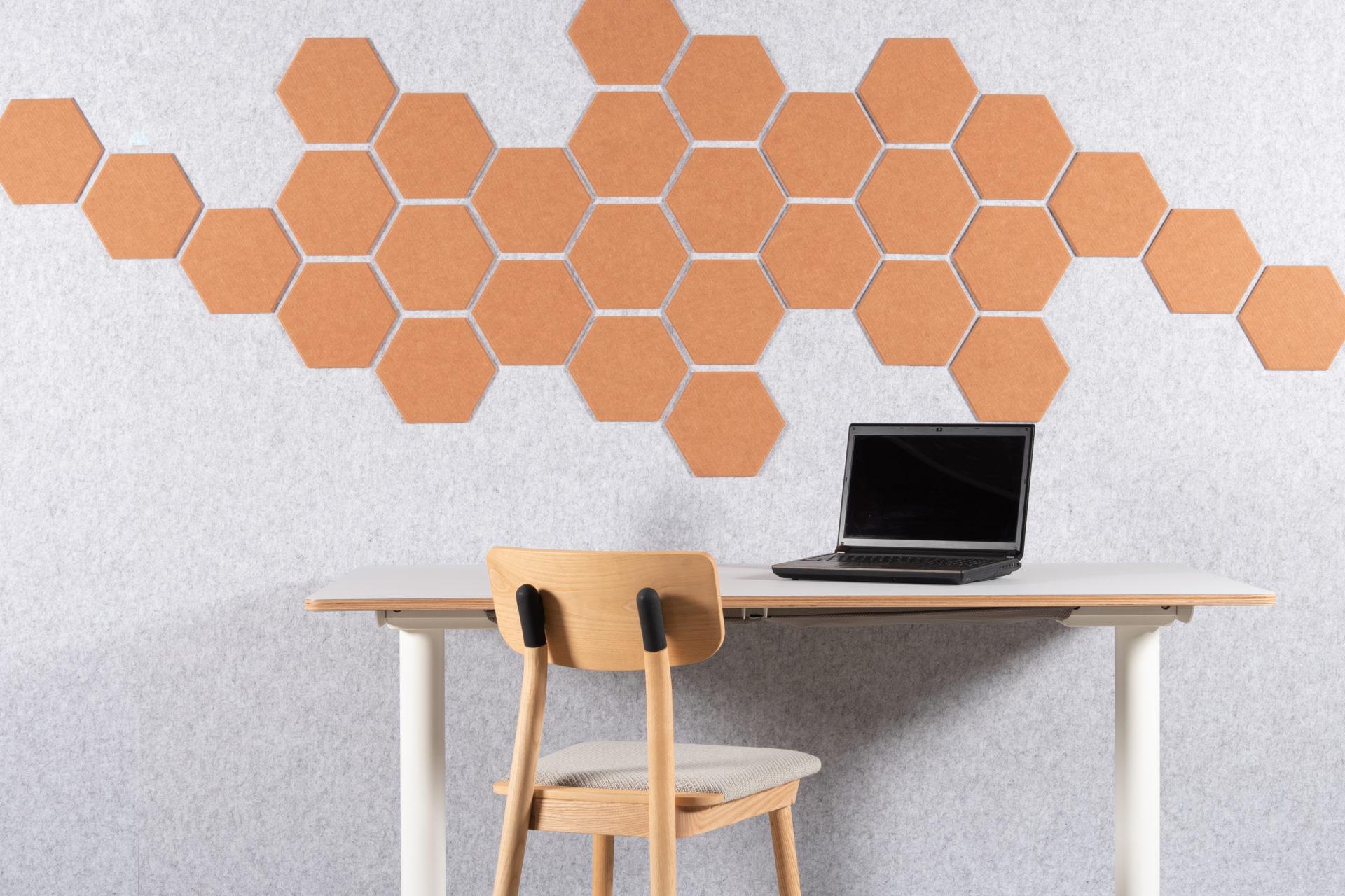 eFelt PET Felt acoustic tile Hexagon Plain Small 24cm setting