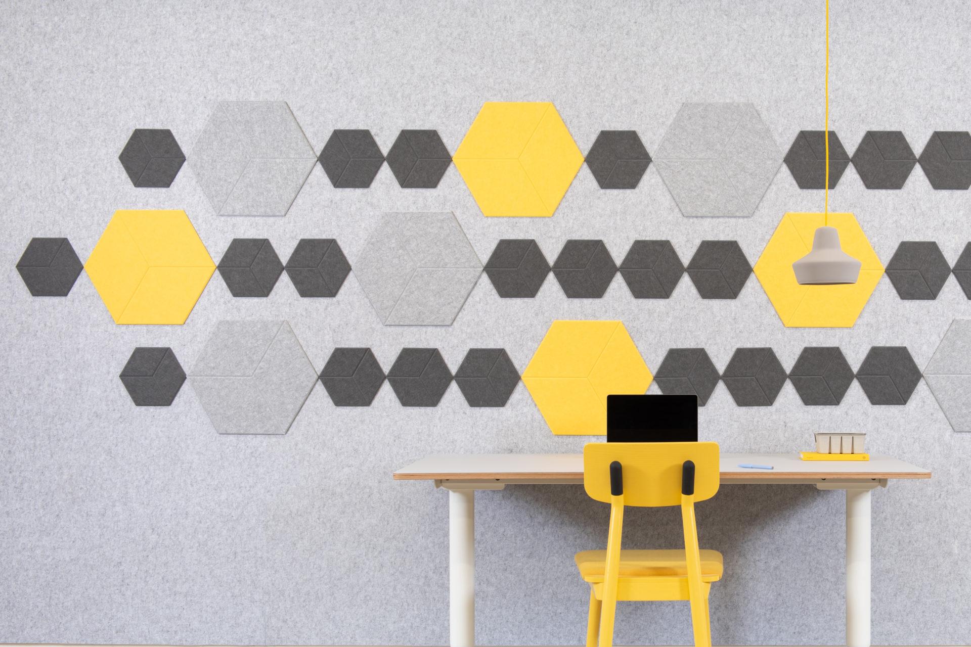 ReFelt PET Felt acoustic tile Hexagon Diamond Large 47cm 2