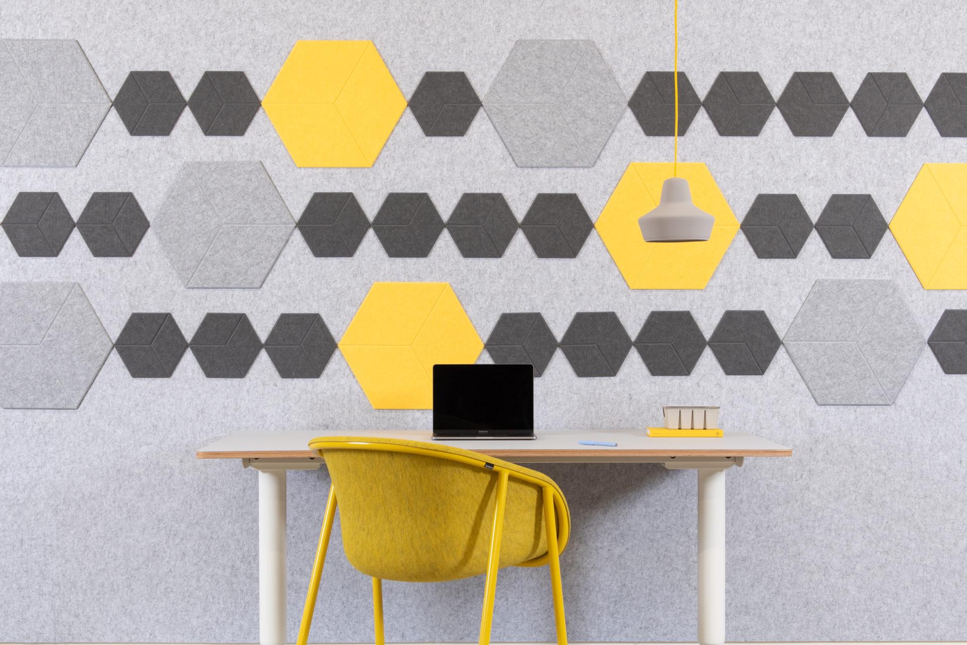 reFelt - pet felt acoustic tiles yellow setting