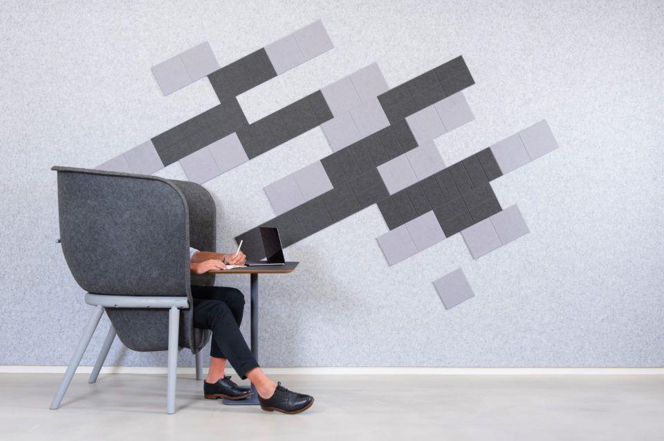 ReFelt pet felt acoustic tiles grey plain setting
