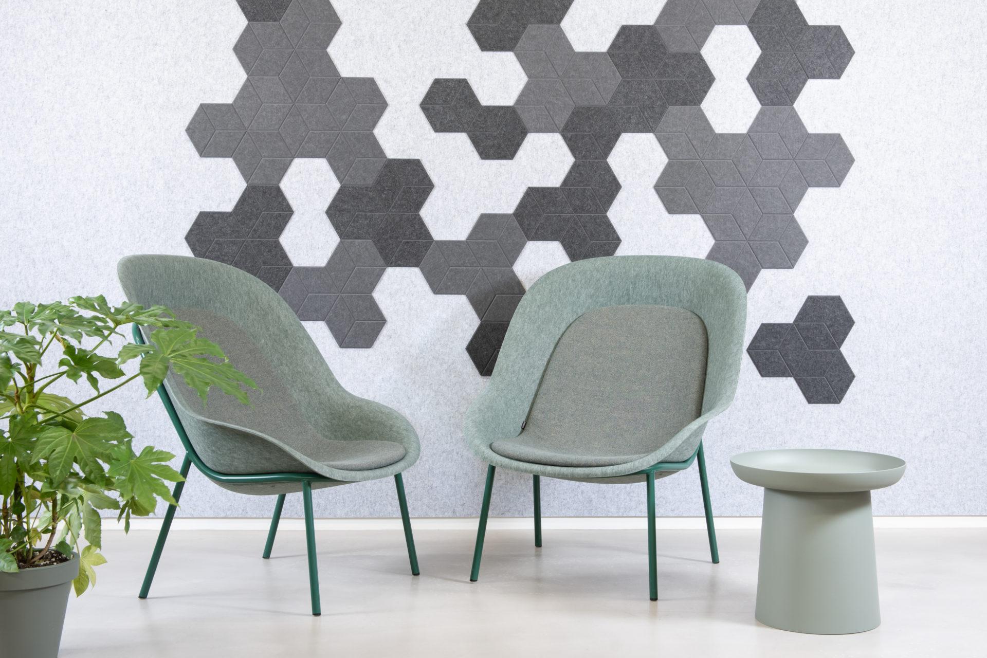 ReFelt PET Felt acoustic tile Hexagon Diamond Small 24cm home office grey 1